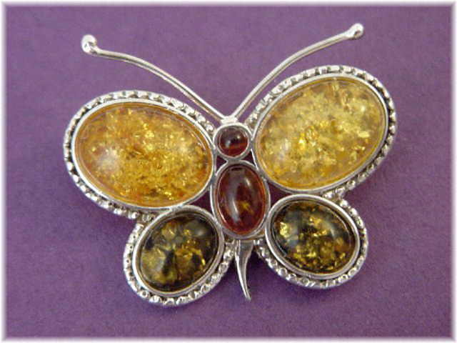 Baltic Amber Sterling Silver Butterfly Brooch - Yellow Green & Honey Amber - FREE SHIPPING by FindMeTreasures on Etsy