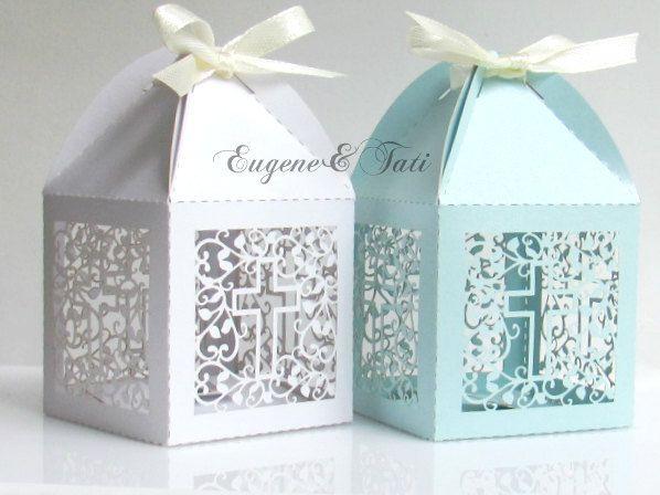 Baptism Favor Box. Cross Baptism Box. Candy Box. 12 pieces. Laser Cut Favor Box. Wedding Favors. Favor Boxes. White. Blue. Blue Favor Box.