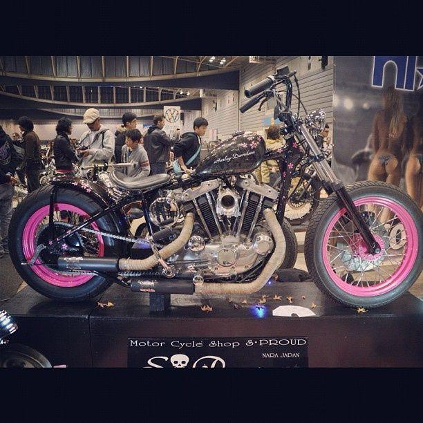 Custom black and pink Harley Davidson