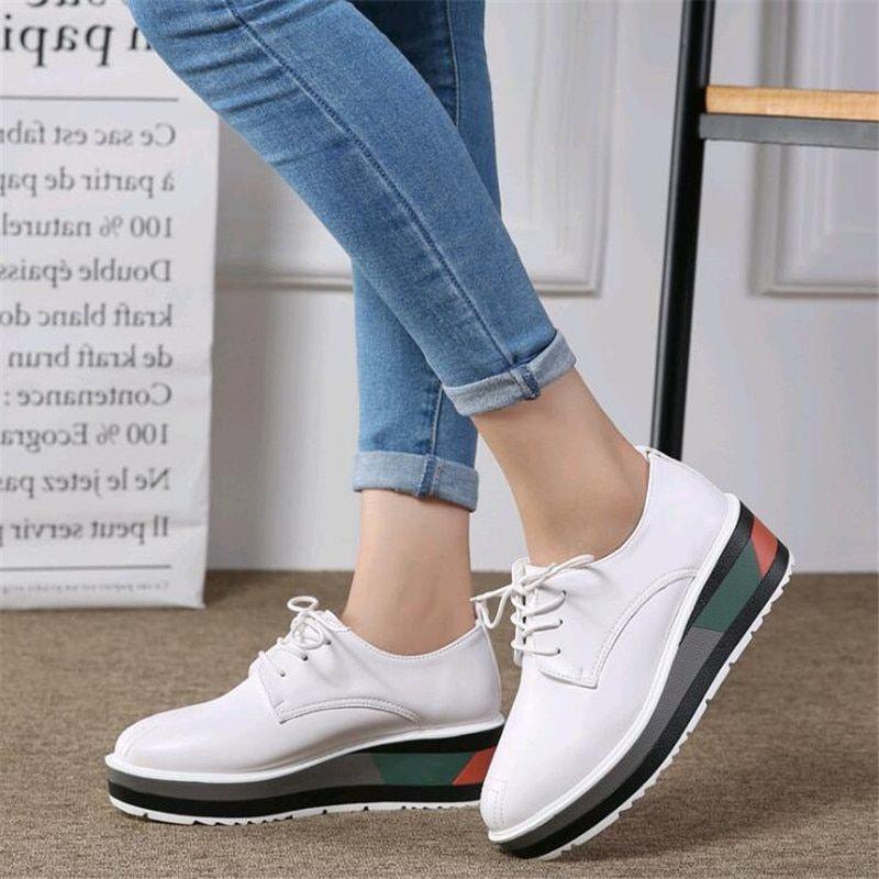 49d724ee51e com2018 Spring Women Oxford Shoes Flats White Sneakers Shoes Women ...