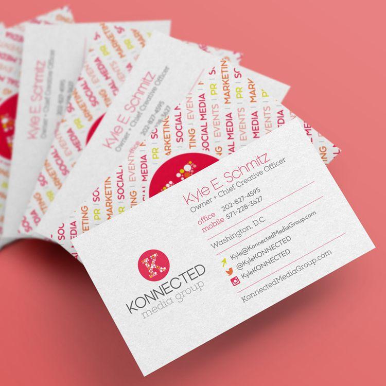 Fun and Playful business cards for Konnected Media Group via Noelle Mullins Design  #print #design #businesscards #creative #noellemullinsdesign