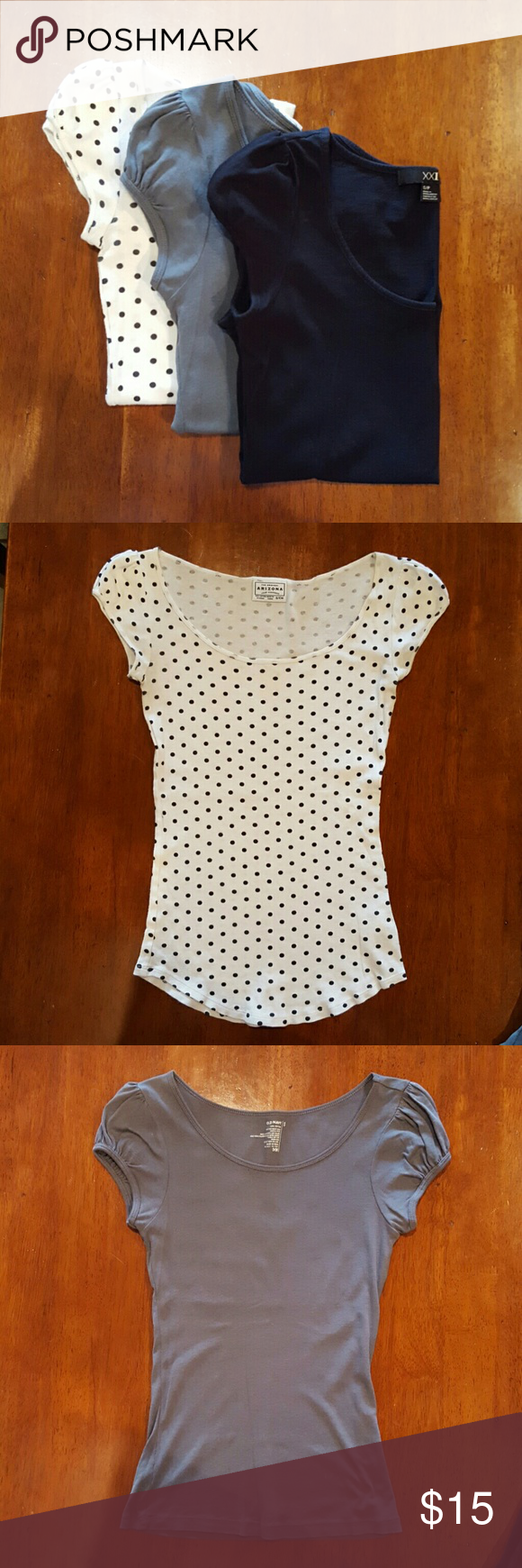 Bundle of three tops Three tops, jet black (Forever 21), steel gray (Old Navy) and white with black polka dots (Arizona Jean Company). All tops are scoop neck, with puffed shoulder short sleeves. All tops are size small. Tops