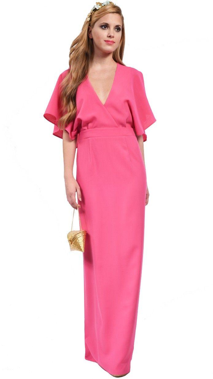 DRESSEOS - Vestido largo sin espalda con capa en rosa de Dresseos ...