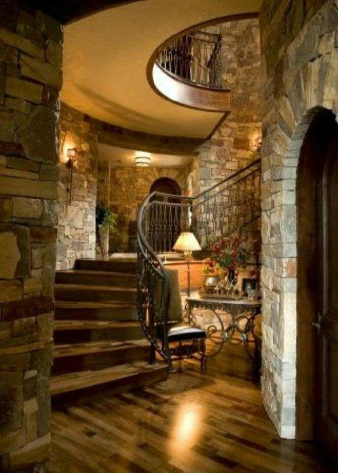 Beautiful Rustic Home Love The Rock Walls Mediterranean Homes