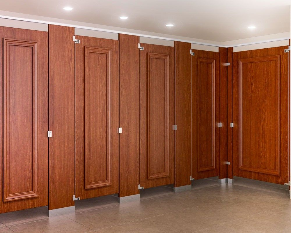 Genial Ironwood Manufacturing Wood Veneer Toilet Partition With Molding Bathroom  Doors. Beautiful, Upscale Toilet Restroom