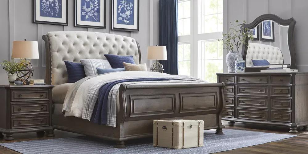 Armitage Dark Brown 7 Pc King Upholstered Bedroom Upholstered Bedroom King Size Bedroom Furniture Sets Tufted Upholstered Bed