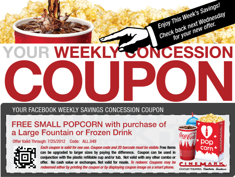 Free popcorn with your large drink at Cinemark movie