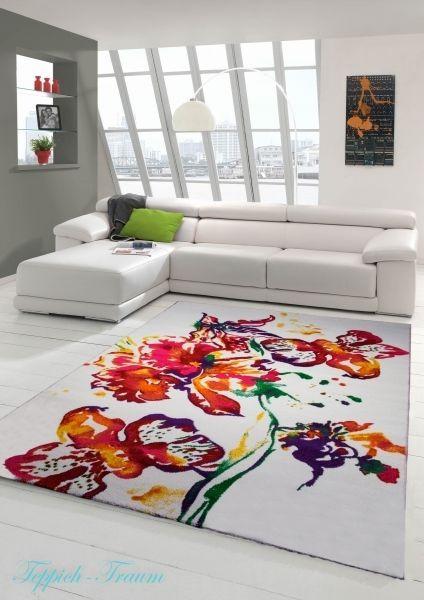 Moderner Teppich Kurzflor Cream Rot Grün Gelb (Traum-Teppich - teppich wohnzimmer grun