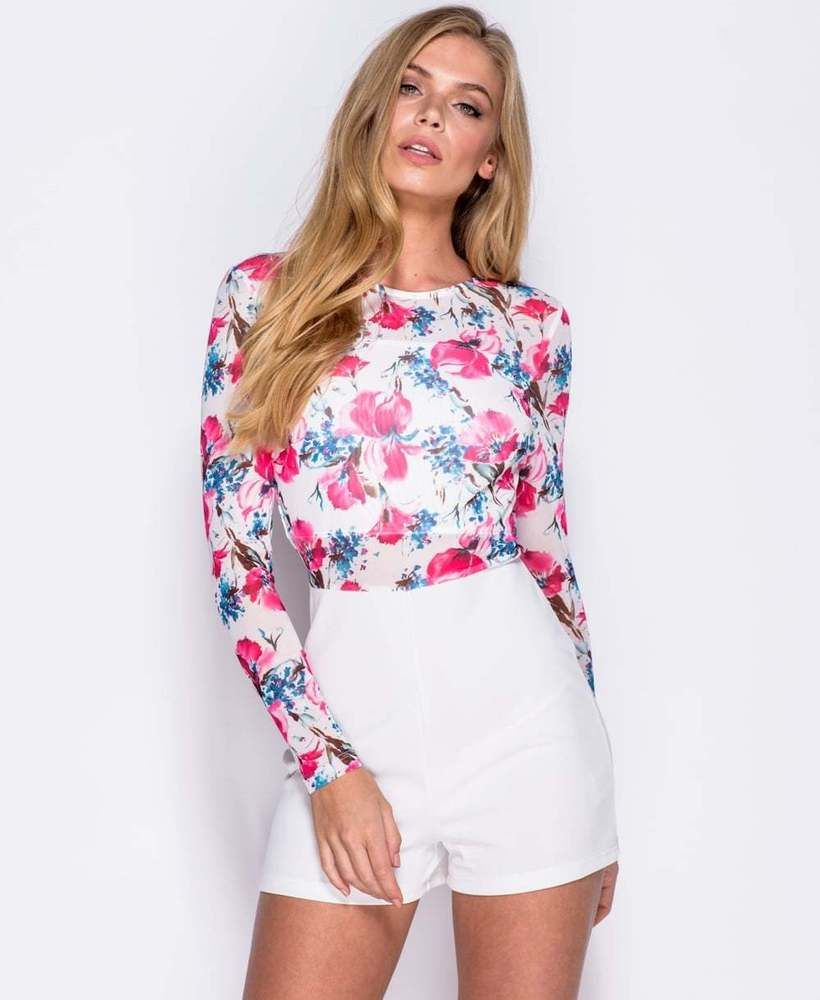 529237501df Long Sleeve Playsuit White   Pink Floral Print Mesh Top UK Sizes 6 8 10 12