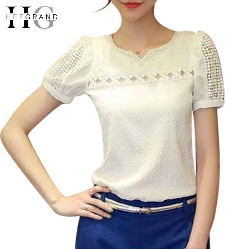6b1045e57471 Barato Camisas Femininas 2016 verão Lace mulheres blusa Sheer oca Beading  elegantes senhoras Blusas camisa Chiffon branco S XXL WCX360, Compro  Qualidade ...