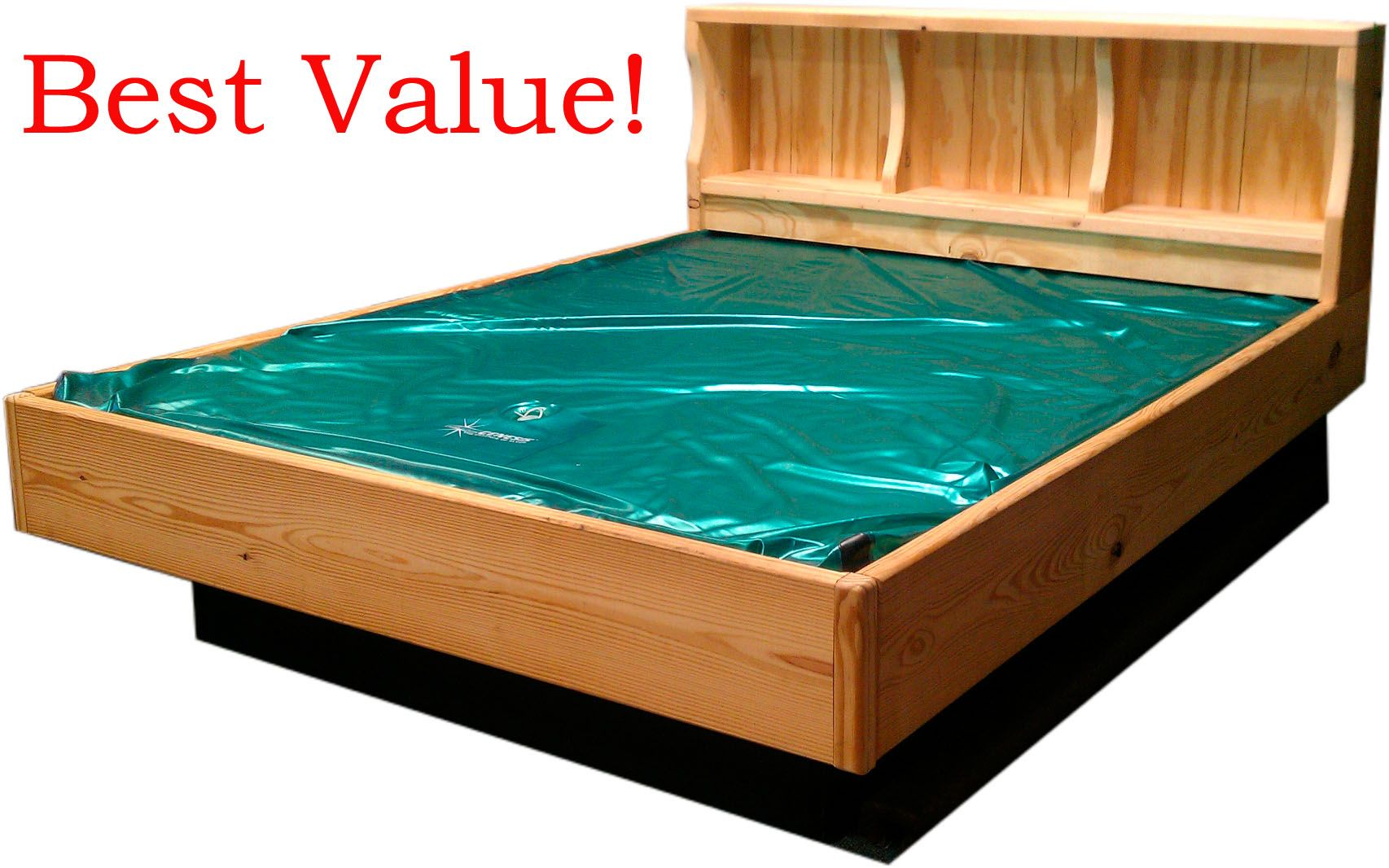 Our All Natural Wood Bookcase Hardside Waterbed Check It Out Http Waterbedstoday Com Naturalwoodbookcase Html Or Water Bed Wood Bookcase Waterbed Frame