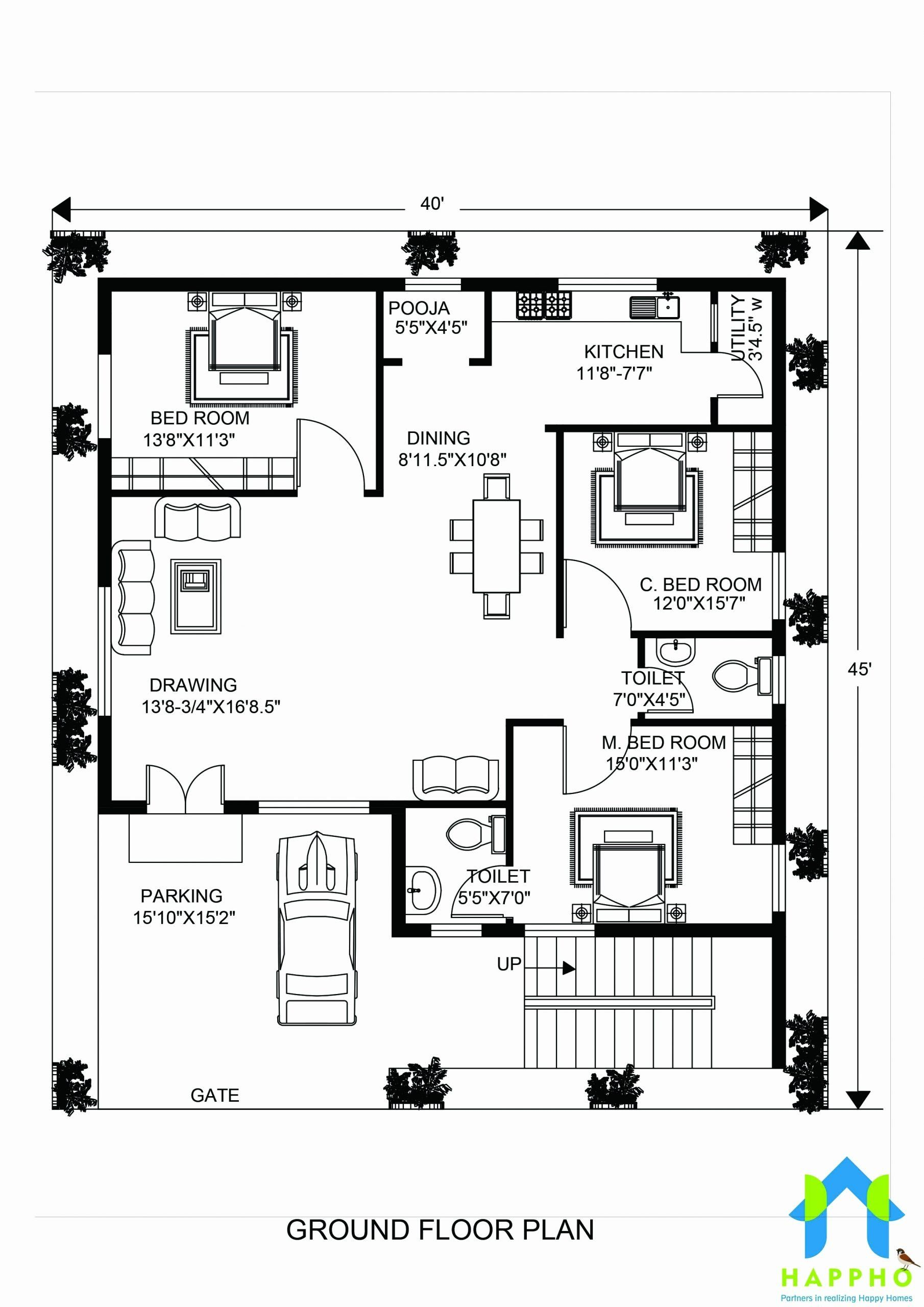 200 Square Foot House Plans Luxury Floor Plan For 40 X 45 Feet Plot Bungalow Style House Plans Square House Plans House Plans