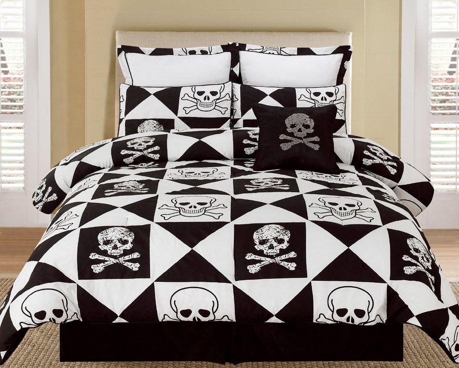 skull and crossbones bedding set Bed, Bedding sets, Bed