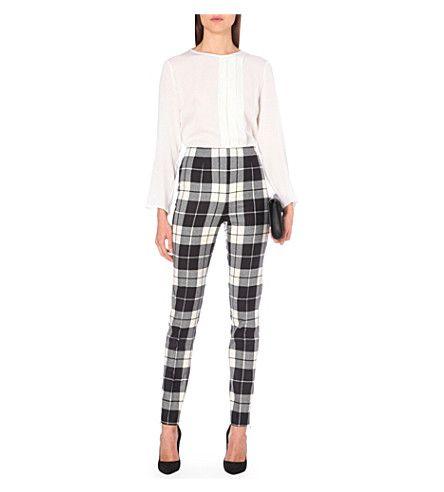 MAX MARA Tartan skinny stretch-wool trousers