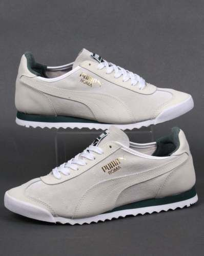 e716bcad1d1f Shoes Men · Puma roma og leather  trainers in white  amp  green -  retro  80s casual