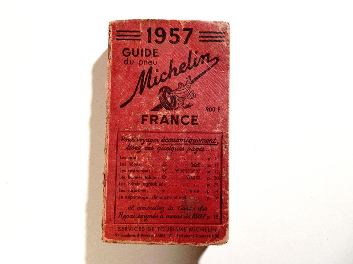 Vintage 1957 Michelin Guide To France Tour Book Maps Travel