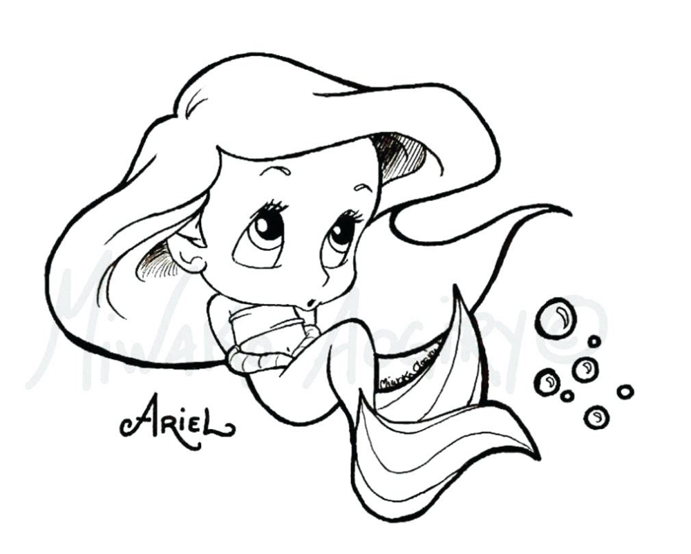 Cute Disney Coloring Pages 26 With Fun  Mermaid coloring pages