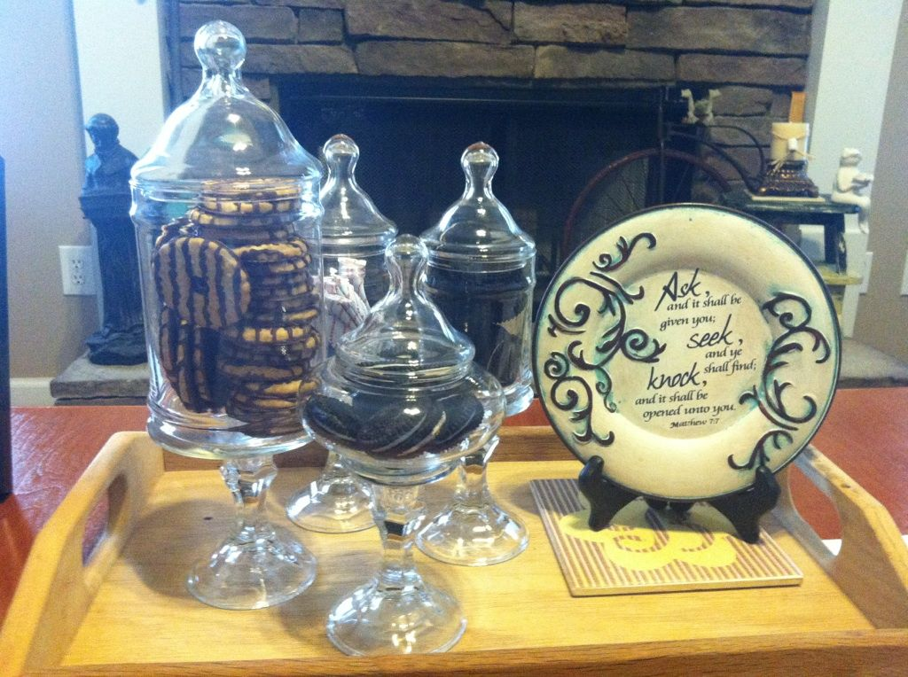 (glass) bowls glued to dollar tree (glass) candlestick holders.I put candy ,cookies,peanuts,etc. in these.
