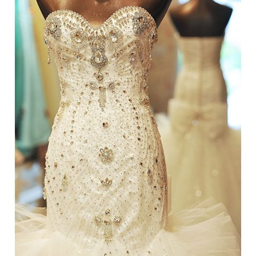Hand-sewn Crystal Wedding Dress GHH-082, Click photo for more detail