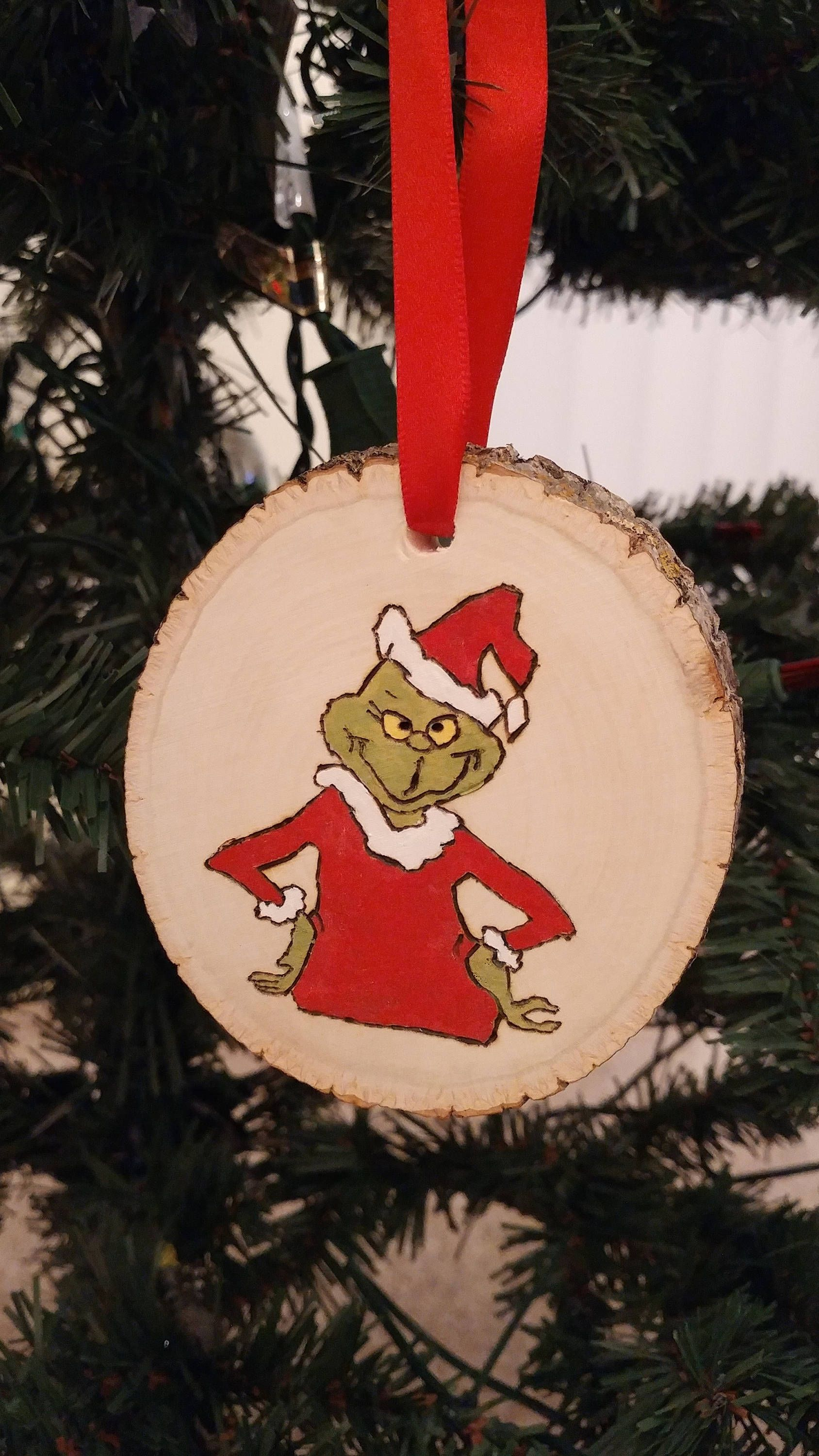 Grinch Wood Ornament Etsy Wood Christmas Ornaments Handmade Christmas Decorations Christmas Ornament Crafts