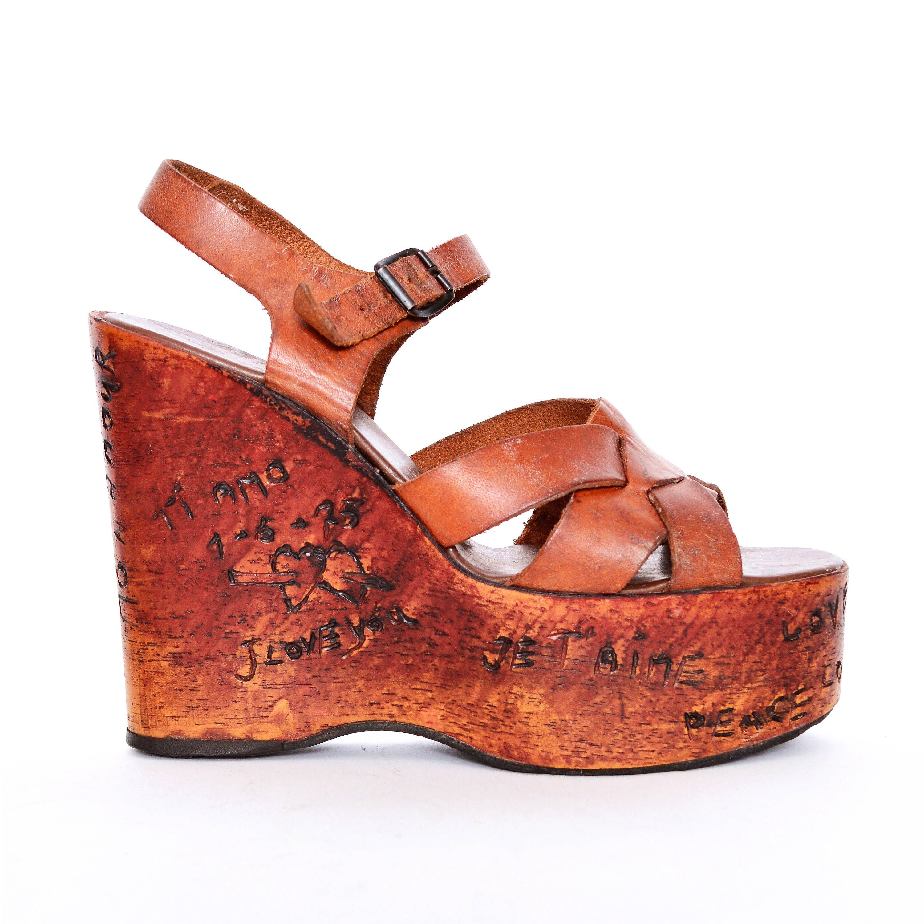 9f659250003d67 70s boho Platform Leather Sandals shoes 7 wood style wedge platforms 1970s  vintage Hippie disco brown 1940s 40s pinup heel wedges Cointrelle