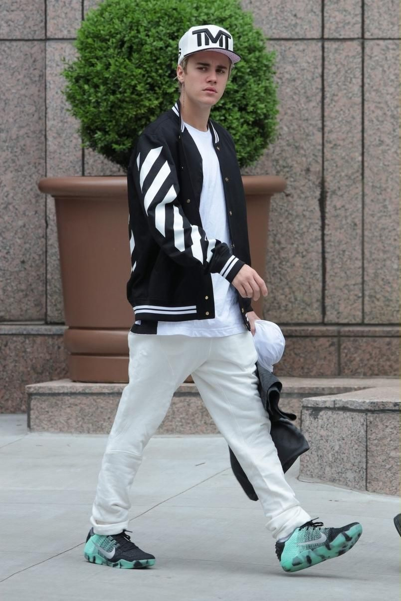 Justin Bieber wearing Off White CO Virgil Abloh Striped