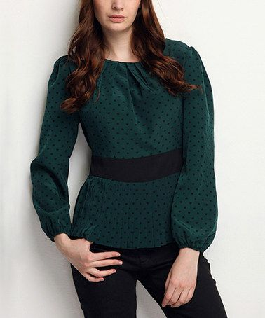 This Green Polka Dot Pleated Peplum Top by Ironi Collection is perfect! #zulilyfinds