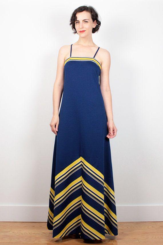 Vintage 70s Dress Navy Blue Yellow White CHEVRON Striped ...