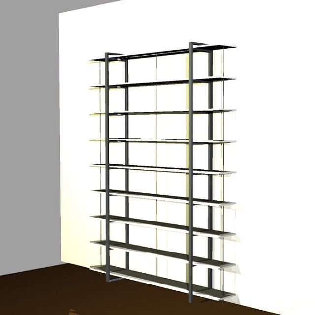 Quick rendering of 11' display shelving for pretty amazing book designer client and friend. Steel ladder shaped uprights and composite laminated shelving with steel rods going through for added strength and book divider/ends... And soon adding a rolling ladder :) Hope to be finished and installed in 3 weeks:) #coldrendesign #customfurniture #steelfurniture #woodandmetal #madeinphilly #handmade