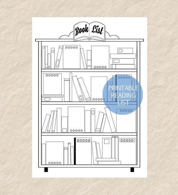 Printable Book List, Printable Reading List, Printable Bookshelf