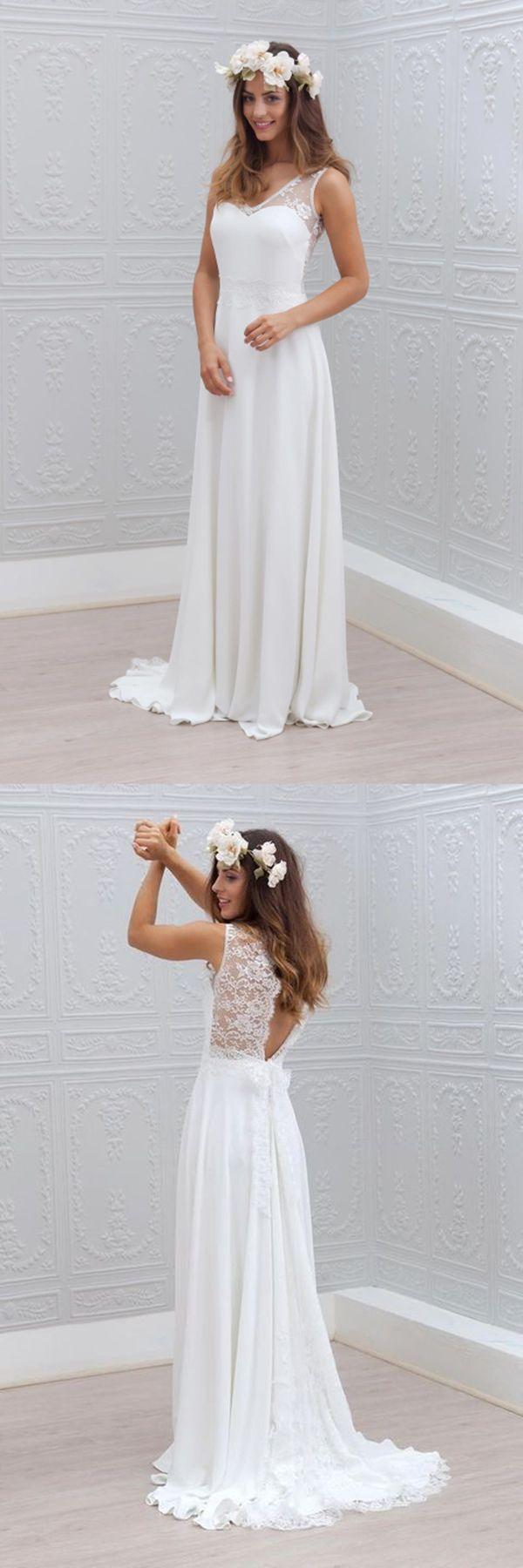 Simple White Wedding Dresses Beach Wedding Dress Open Back Long Bridal Gowns Lace Wedding Dress Wedding Gowns Lace Wedding Dress Chiffon White Wedding Dresses