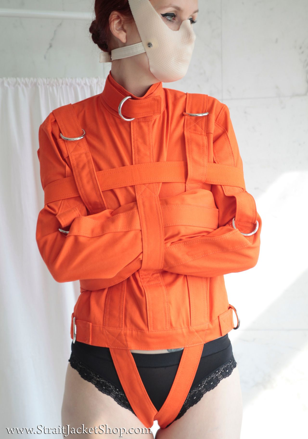 Woman In Her Stylish Orange Straitjacket (Not A Toy) With
