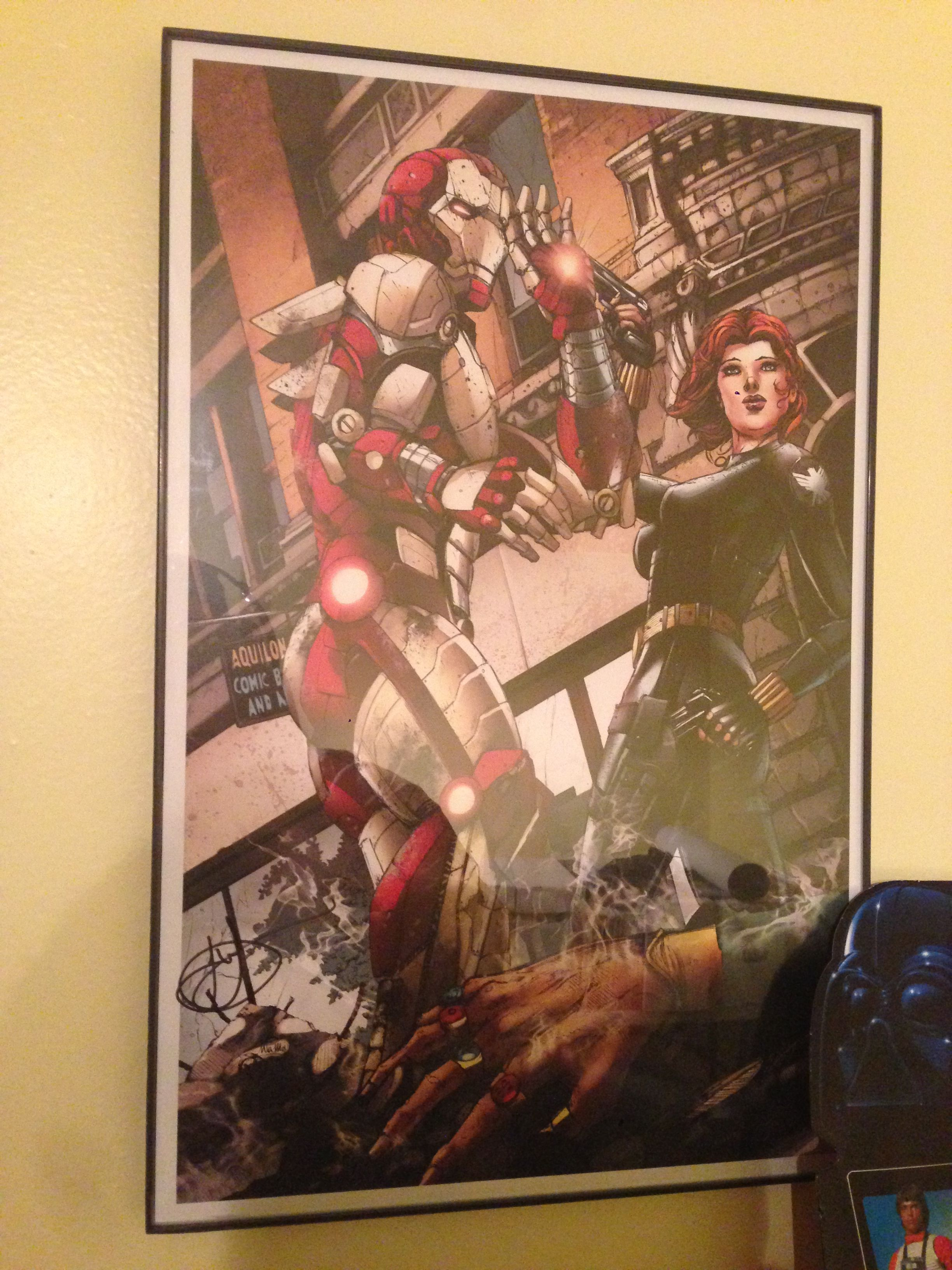 Closeup of the Iron Man and Balck Widow print by Jesse Wichman. My ...