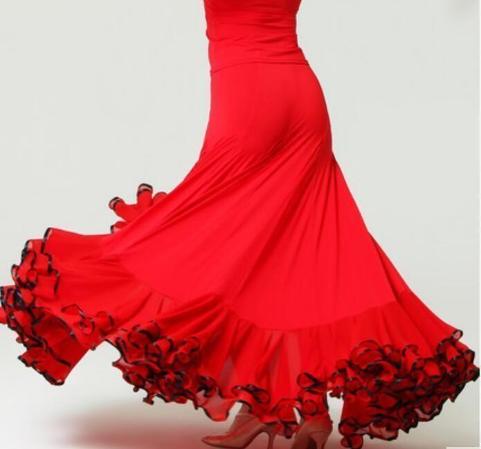 993a58e24bad Chic Womens Dance Modern Tango Waltz Long Cha Cha Flamenco Ballroom Skirt