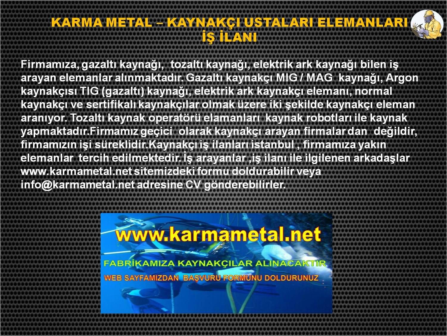karma metal kaynakci eleman is ilanlari ilani istanbul esenyurt kirac avcilar beylikduzu corlu silivri degirmenkoy cantakoy selimpasa cerkezkoy yati karma metal