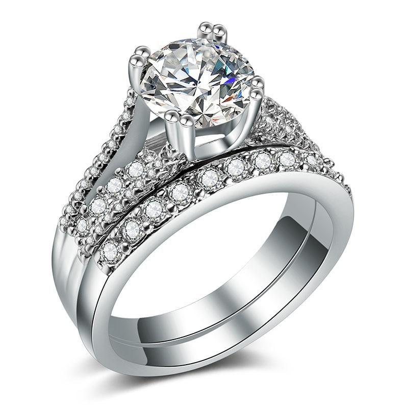 Huitan Luxury 2pc Eternity Ring Set With Round Brilliant Cubic Zirconia Best Lover Gift Engagement Wedding Rings For Women Cubic Zirconia Wedding Rings Wedding Rings For Women Gold Ring Sets