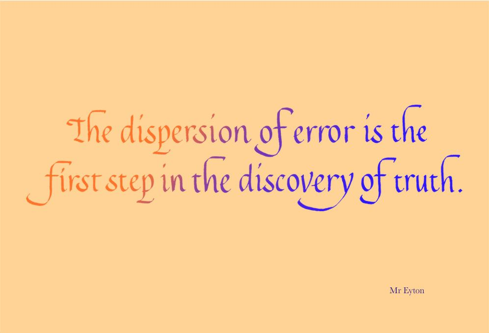 8/100   Calligraphy   The dispersion of error