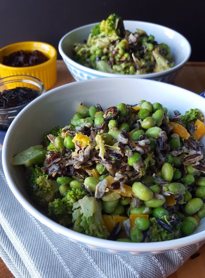 Edamame Broccoli Wild Rice Salad