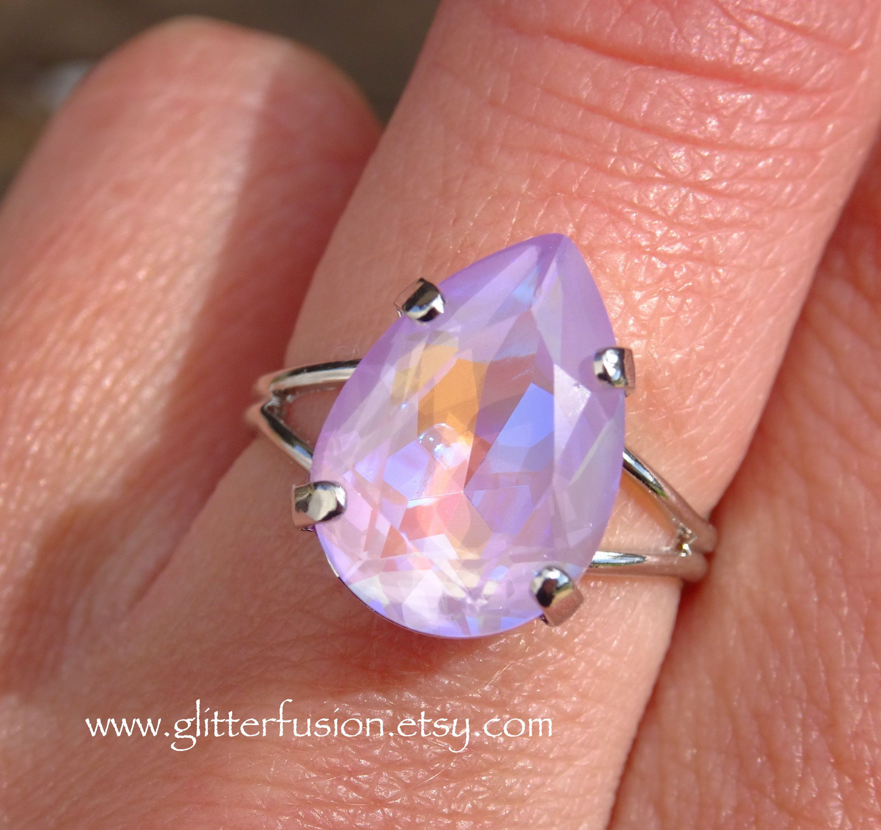 Multistone baguette cocktail ring Gorgeous fine costume jewelry Lavender stone ring Wide statement ring Unique designer jewelry