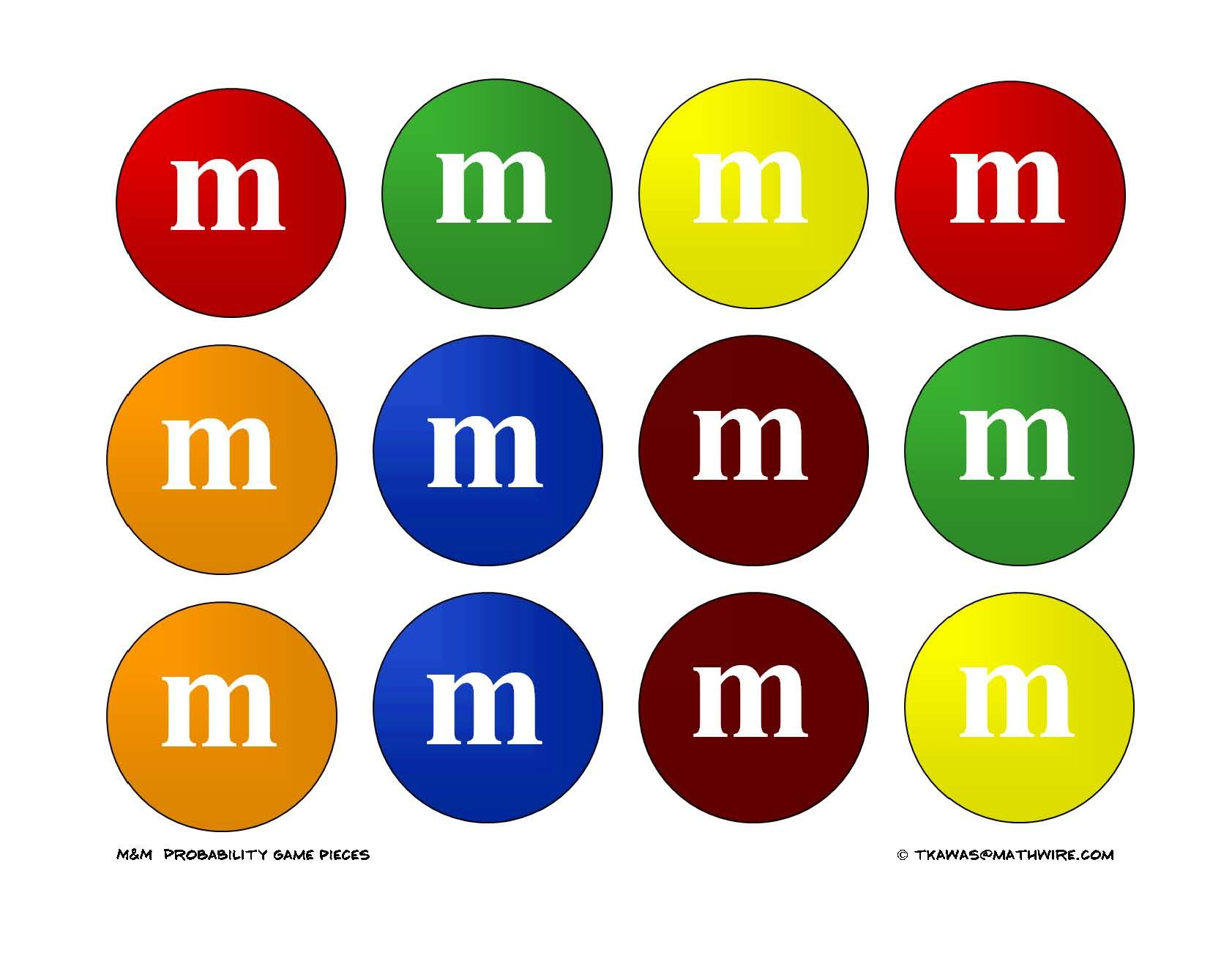 M Amp M Printable For A Bulletin Board For M Amp M Math They Are The Exact Size Of A 2 Round Punch