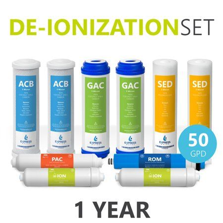 Express Water 1 Year Deionization Reverse Osmosis System Replacement Filter Set 10 Filters With 50 Gpd Ro Membrane 10 Inch Size Water Filters Reverse Osmosis System Ro Membrane Reverse Osmosis Water Filter