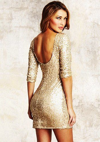 Gold Sequin Low Back Dress With Sleeves | Keep it Styled ...