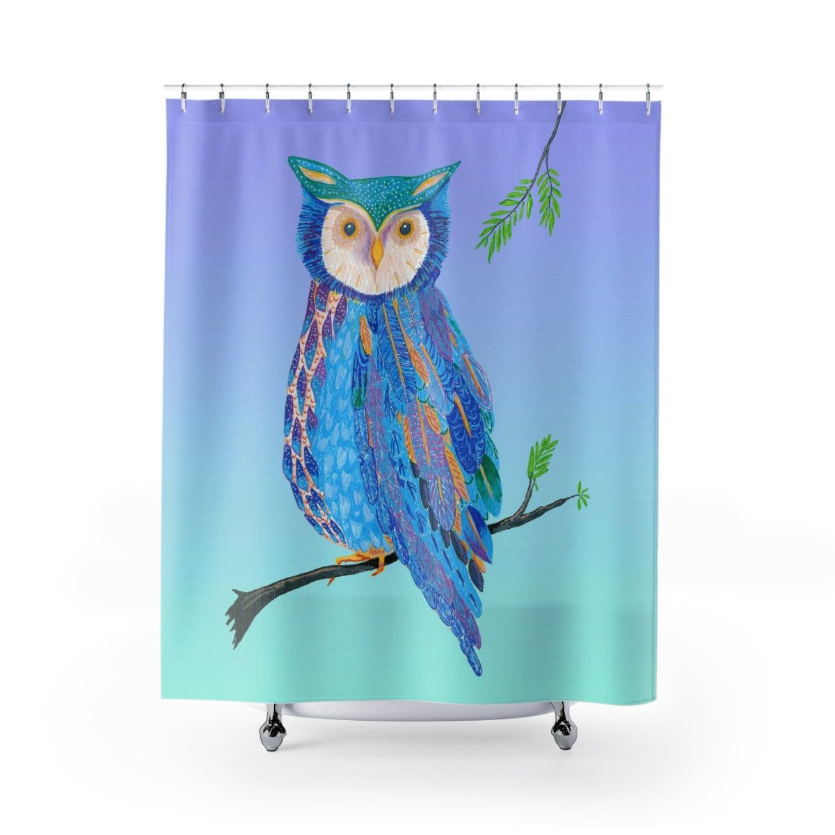 Owl Shower Curtain Colorful Blue Green Purple Night Owl Painted Owl Owl Shower Owl Painting Shower Curtain