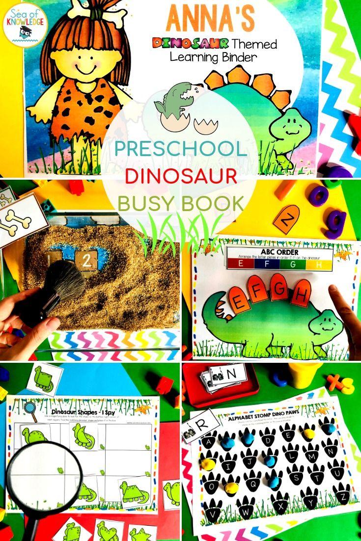 Dinosaur Printable Learning Busy Book Preschool Age 35