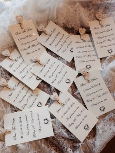 10 X Save The Date Wedding Card Fridge Peg Magnets Personalised Shabby Chic Ebay