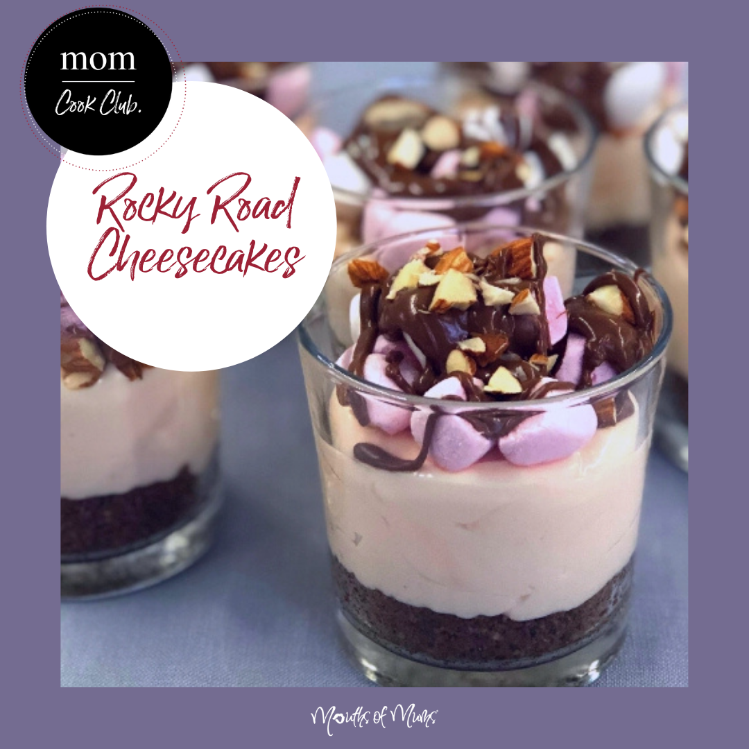 Ooooh we think we just died and went to heaven! Rocky Road Heaven that is! We love the way the marshmallow has been mixed through the cream cheese to give the fluffiest cheesecake ever! Rocky Road Cheesecakes > recipe in MoM Cook.Club . . #momcookclub #mouthsofmums #nomnom #easyrecipe #delish #homemade #closetohome #sogood #rockyroad #rockyroadcheesecake #cheesecakeinaglass #easy #sweettreat
