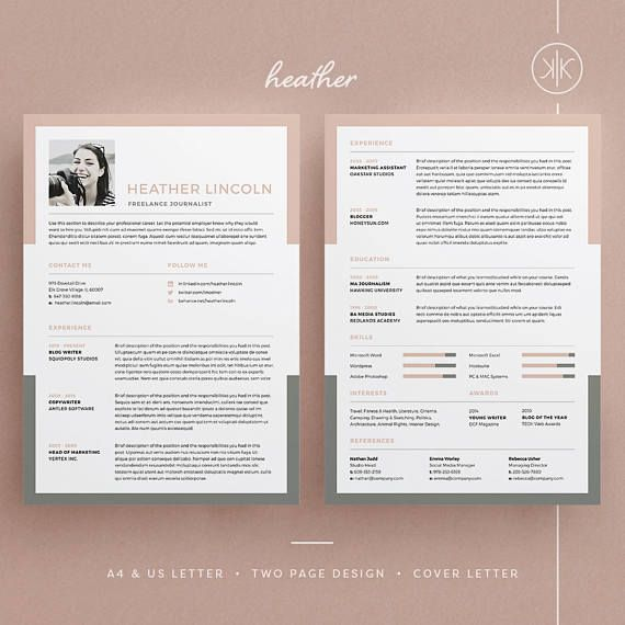 Cv Template Heather ResumeCv Template  Word  Photoshop