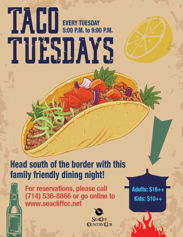 taco tuesdays mexican theme flyer poster event template