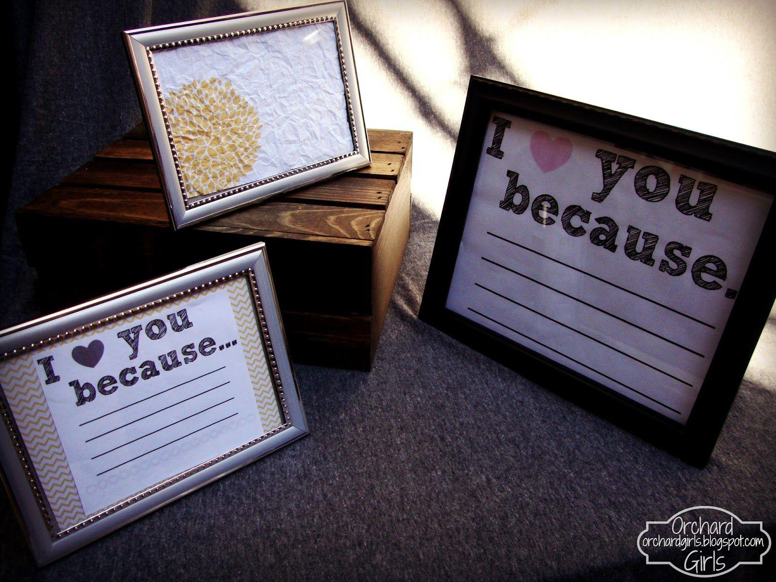 """I love you because"" Board + FREE Printable"