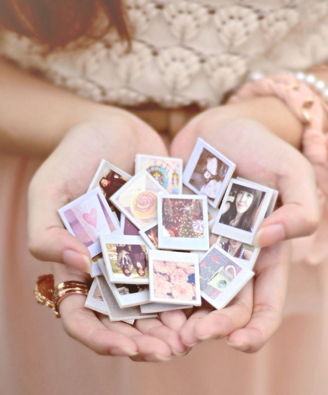 Hacer estos imanes de fotos en mini piezas de madera :)